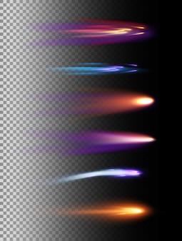 Ilustracja zestaw efektów świetlnych, meteor kosmiczny i komety w różnych kolorach i kształtach na przezroczystym tle.