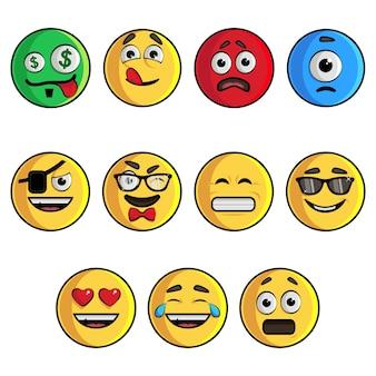 Ilustracja zestaw emoji.