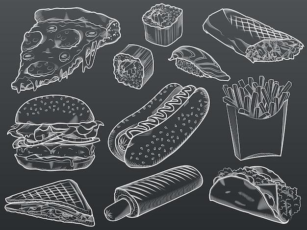 Ilustracja zestaw fast food