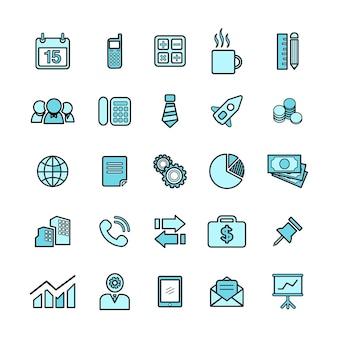 Ilustracja zestaw ikon biznesowych