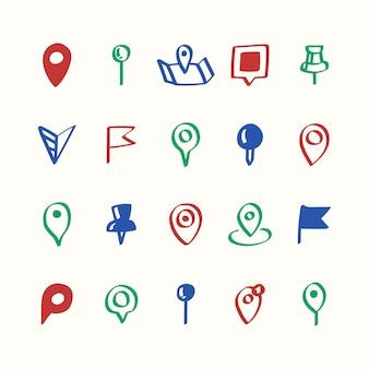 Ilustracja zestaw ikon pinów mapy
