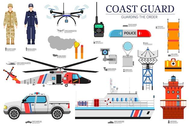 Ilustracja zestaw ikon płaskich ikon straży przybrzeżnej