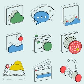 Ilustracja zestaw ikon rekreacyjnych