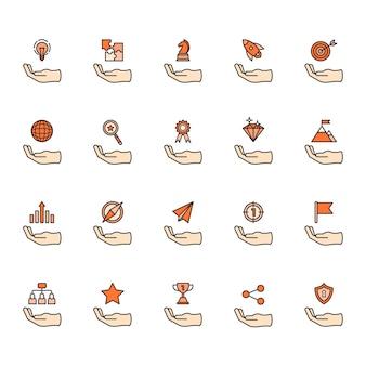 Ilustracja zestaw ikon sukcesu firmy