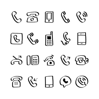 Ilustracja zestaw ikon telefonu