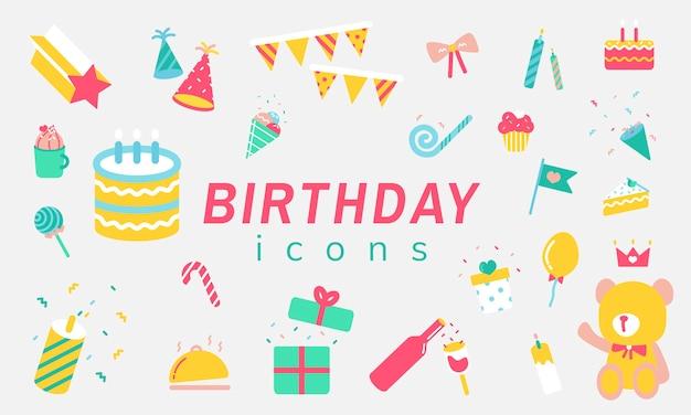 Ilustracja zestaw ikon urodziny