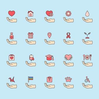 Ilustracja zestaw ikon wsparcia darowizny