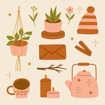 Ilustracja zestaw jesiennych domowych przytulnych elementów akcesoria w stylu skandynawskim hygge jesienne kwiaty i liście cynamonowa koperta świeca czajnik gorący napój wisząca roślina doniczka czapka kapelusz
