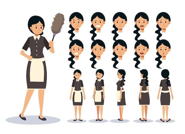 Ilustracja zestaw kobieta jest pokojówką, w różnych działaniach. ekspresja emocji. animowana postać z przodu, z boku, z tyłu.