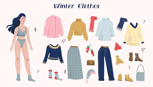 Ilustracja zestaw kobiety i kolekcja zimowej ciepłej odzieży. kolekcja mody na co dzień dla młodej kobiety. kobieta w płaszczu, butach, szaliku, czapce na zimę.