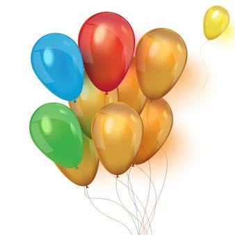 Ilustracja zestaw kolorowych balonów na urodziny lub imprezę