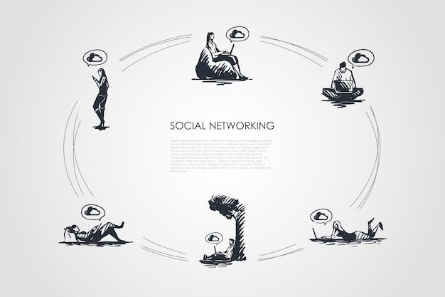 Ilustracja zestaw koncepcji sieci społecznościowych