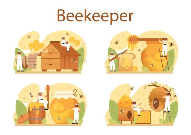 Ilustracja zestaw koncepcji ula lub pszczelarza