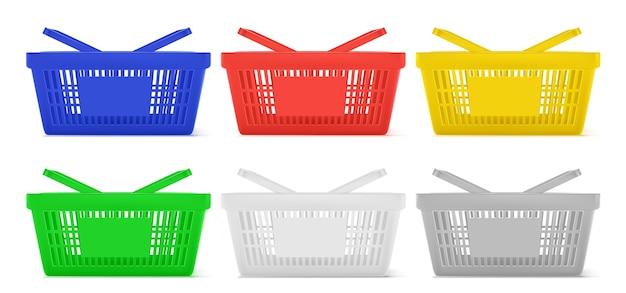 Ilustracja zestaw koszyków na zakupy w supermarkecie