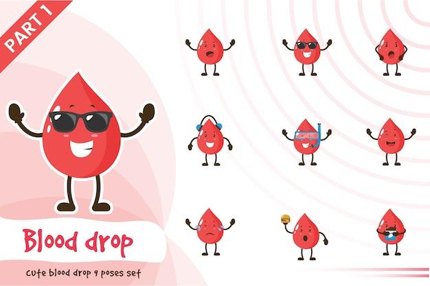 Ilustracja zestaw ładny kropli krwi