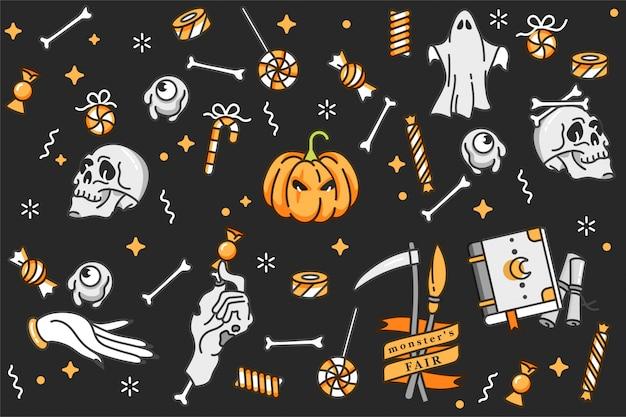 Ilustracja zestaw liniowych ikon na happy halloween.