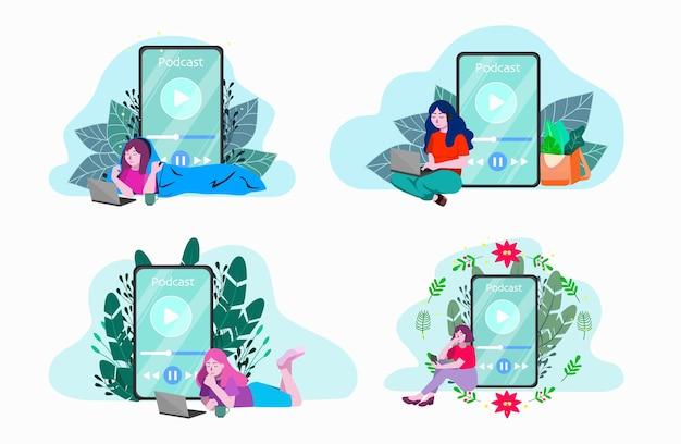 Ilustracja zestaw ludzi słuchających podcastu. koncepcja nowoczesnej komunikacji medialnej, podcasting. ludzie słuchający zestawu strumienia online. nowa zawartość radiowa