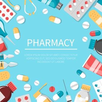 Ilustracja zestaw medycyny. butelka z lekiem, tabletka pierwszej pomocy i plaster. baner internetowy apteki i opieki zdrowotnej. leczenie choroby tabletką. strzykawka do wstrzykiwań.