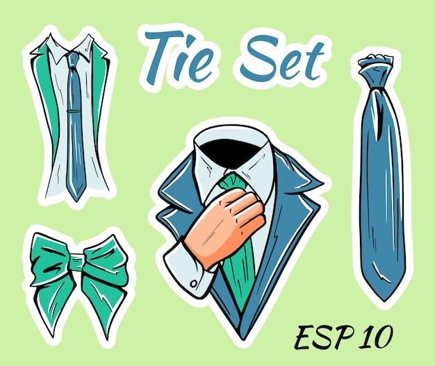 Ilustracja zestaw męskich krawatów biznesowych i muszek.