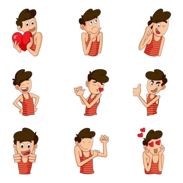 Ilustracja zestaw naklejki cute boy