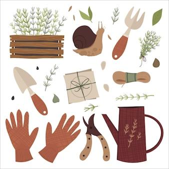 Ilustracja Zestaw Narzędzi Ogrodowych Premium Wektorów