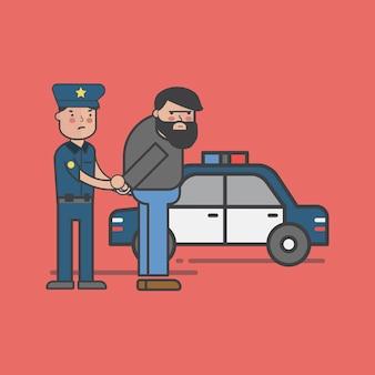 Ilustracja zestaw policji