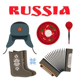 Ilustracja zestaw przedmiotów rosji