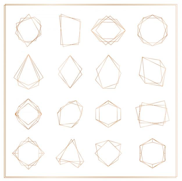 Ilustracja zestaw ramek złote segmenty na białym tle. kolekcja ramek geometrycznych wielościan cienkich linii na zaproszenia ślubne, kartki z życzeniami, logo, elementy do banerów internetowych.