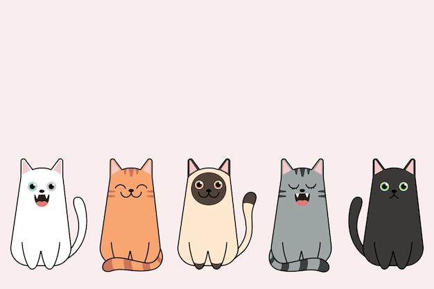 Ilustracja zestaw ras kotów śmieszne kreskówki.