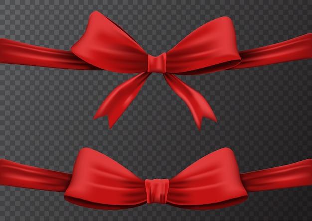 Ilustracja zestaw realistycznej czerwoną wstążką lub czerwoną kokardą