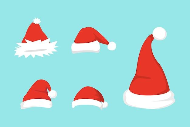 Ilustracja zestaw santa kapelusze w projekcie kreskówki