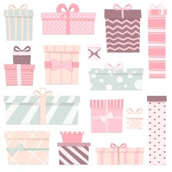 Ilustracja zestaw ślicznych prezentów o różnych kształtach i kolorach.