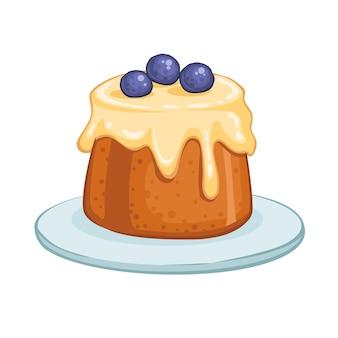 Ilustracja zestaw słodkich pieczonych ciast na białym tle
