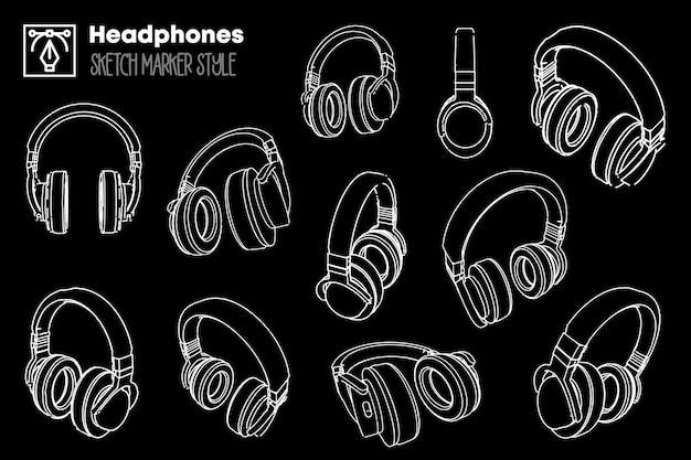 Ilustracja zestaw słuchawek