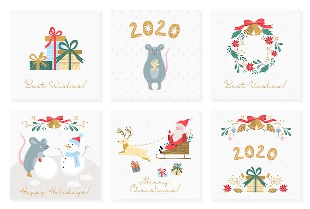 Ilustracja zestaw starych plakatów na boże narodzenie i nowy rok. zestaw kartek świątecznych w stylu retro. kolekcja bannerów ze świąteczną dekoracją i prezentem, święty mikołaj, czerwona kokarda, złote dzwonki