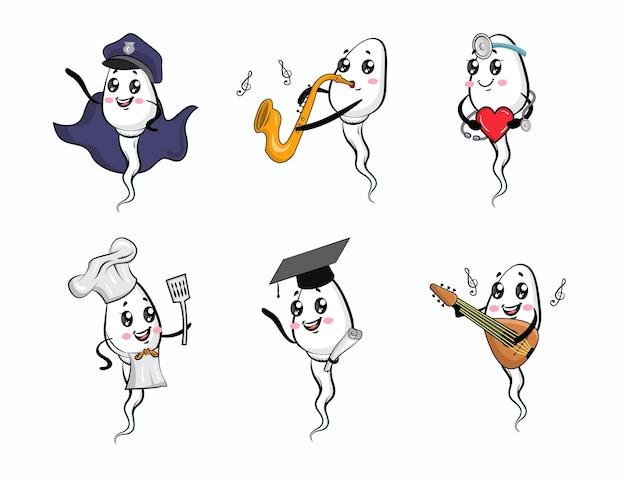 Ilustracja zestaw uroczych szczęśliwych zabawnych postaci zapłodnienia plemników