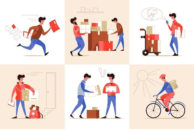 Ilustracja zestaw usług pocztowych