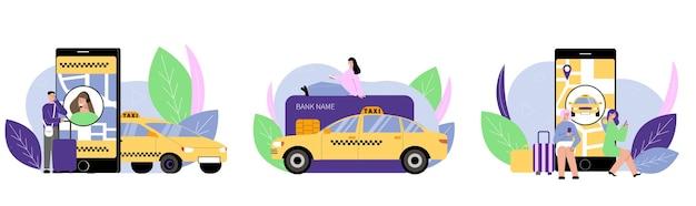 Ilustracja zestaw usług taksówkowych