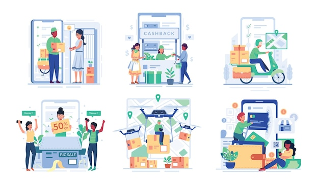 Ilustracja zestaw z mężczyzną i kobietą cieszyć się zakupami online w stylu postaci z kreskówek,