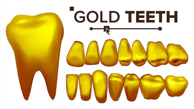 Ilustracja zestaw złotych zębów