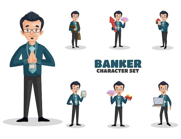 Ilustracja zestaw znaków bankier