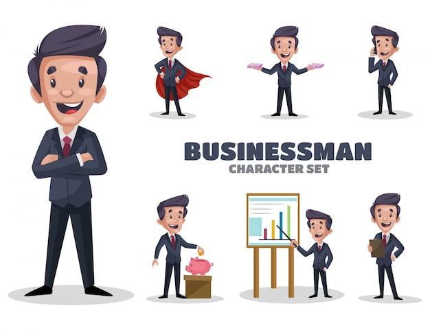Ilustracja zestaw znaków biznesmen