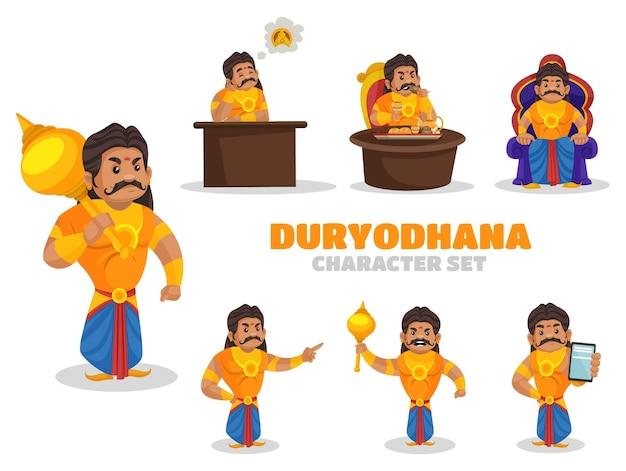 Ilustracja zestaw znaków duryodhana