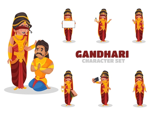 Ilustracja zestaw znaków gandhari
