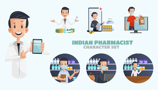 Ilustracja zestaw znaków indyjskiego farmaceuty