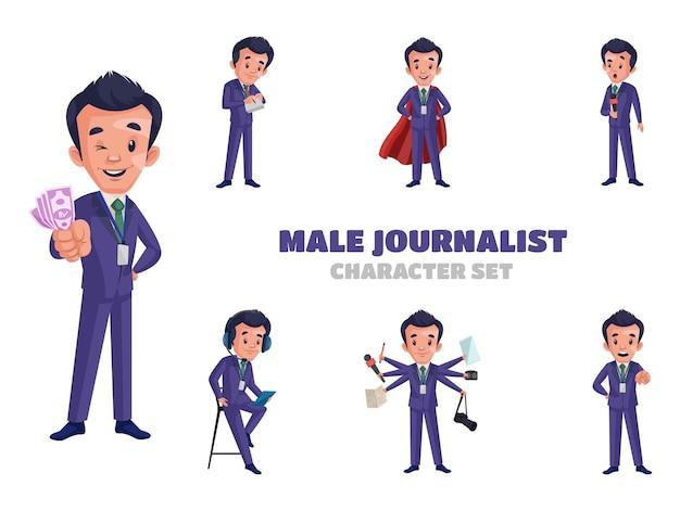 Ilustracja zestaw znaków męskiego dziennikarza