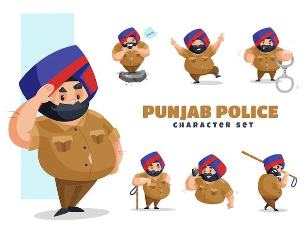 Ilustracja zestaw znaków policji pendżab