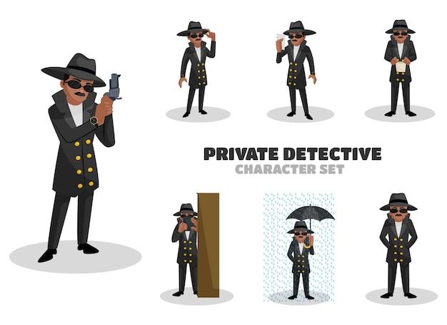 Ilustracja zestaw znaków prywatnego detektywa