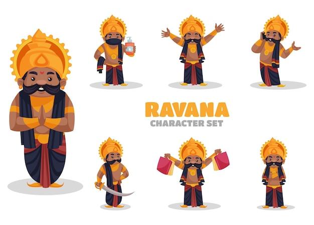 Ilustracja zestaw znaków ravana