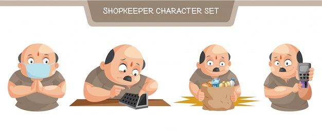 Ilustracja zestaw znaków sklepikarz